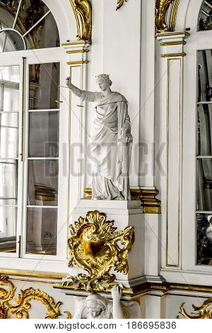17 April 2016. Saint-Petersburg. The statue of the Goddess of justice on the Jordan staircase in the Hermitage in St. Petersburg.Russia.