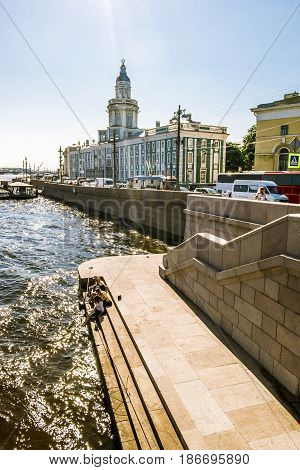 Saint Petersburg.Russia.July 25 2014.Views on University embankment in Saint Petersburg.
