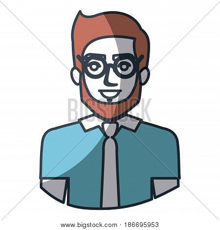 color silhouette and thick contour of half body of man with glasses and shirt with tie and bearded vector illustration