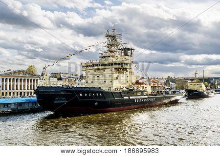 Saint Petersburg.Russia.May 3 2014. Icebreaker