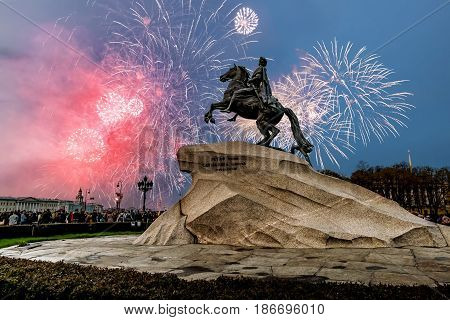 Saint-Petersburg.Russia.May 9 2014. View of the bronze Horseman and the fireworks on victory day in Saint Petersburg