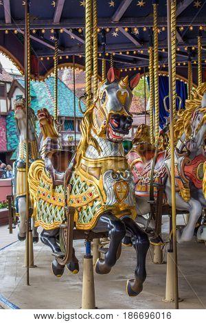 Merry go round in amusement park.  Paris Disneyland in the spring of 2017