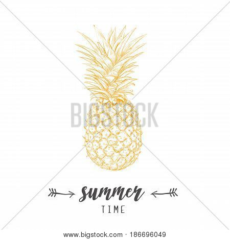 Pineapple yellow  skech. Letitering summer card. Pineapple hand drawing