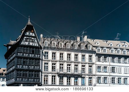 Old Historic Center Of Strasbourg Infrared View, Touristic Concept