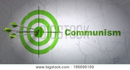 Success political concept: arrows hitting the center of target, Green Communism on wall background, 3D rendering