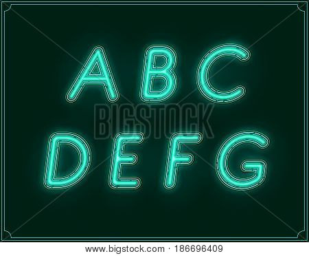 Neon Italic Font Type Alphabet. Glowing in Vector.