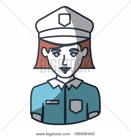 color silhouette and thick contour of half body of policewoman vector illustration