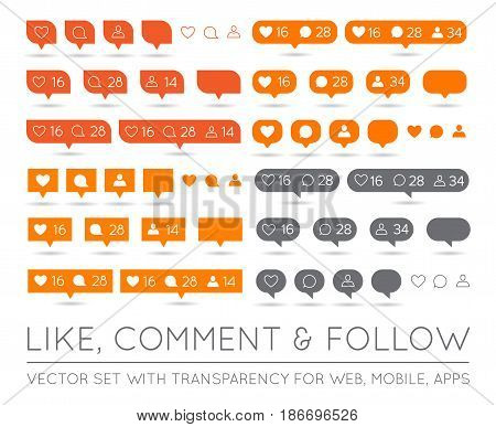 Vector Like, Follower, Comment Icon Set in EPS
