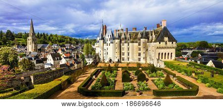Castles of Loire valley - impressive Langeais with beautiful gardens, France