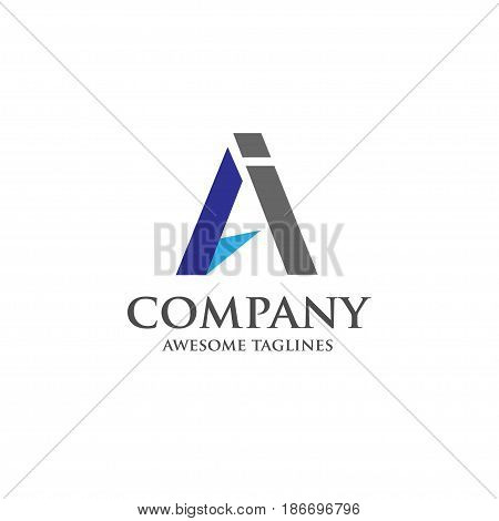 AI letter logo design vector illustration template, A letter logo vector, letter A and I logo vector, creative Letter AI letter logo