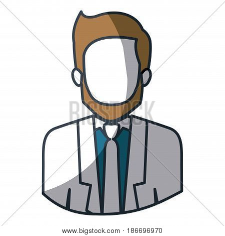 color silhouette and thick contour of half body of faceless man with beard and formal suit vector illustration