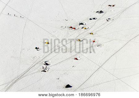 Touristic tents near Aiguille du Midi Mont Blanc massive France