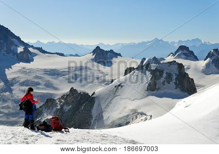 Climbers in a high winter mountain Mont Blanc massive France