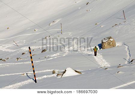 Climbers in a high winter mountain Rila mountain in Bulgaria