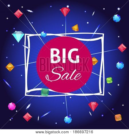 Big sale banner with diamond. Vector illustration of abstract background.