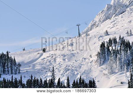 Ski zone Vitosha Bulgaria in sunny day