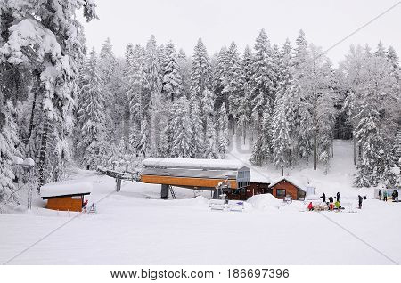 ski-lift in Borovec ski resort Bulgariaheavy snow