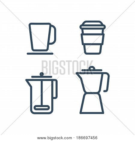 Set of different flat coffee icons. Black and white icons for coffee shop and cafe.