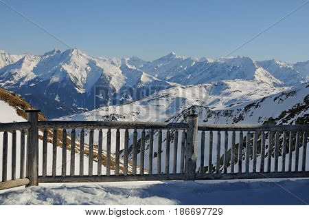 A mountain wooden enclosure with snow in ski zone Zillertal Austria
