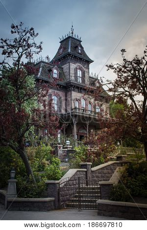 Phantom manor in amusement park.  Paris Disneyland in the spring of 2017
