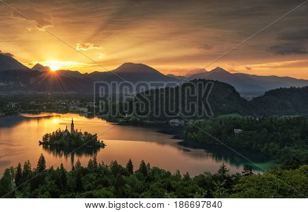Bled with lake island and mountains in background Slovenia Europe