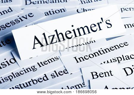 Aging process alzheimer's disease incontinence dementia words concept ageing