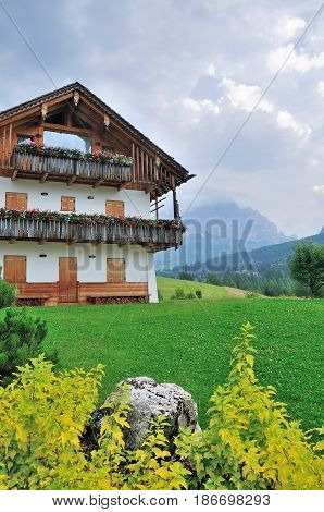 summer village in Val Gardena South Tirol Dolomiten mountains Italy