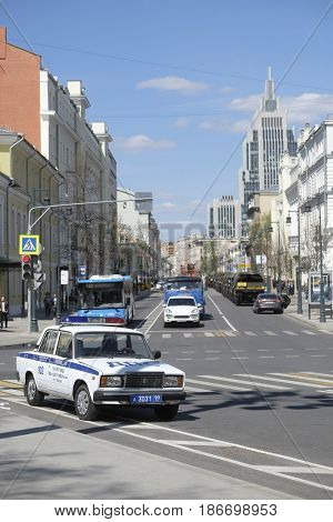 Moscow, Russia - May, 4, 2017: car of Road Patrol Service in Moscow