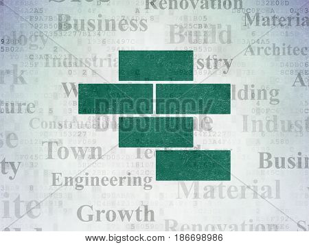 Building construction concept: Painted green Bricks icon on Digital Data Paper background with  Tag Cloud