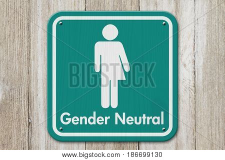 Transgender sign Teal and white sign with a transgender symbol with text Gender Neutral on weathered wood 3D Illustration