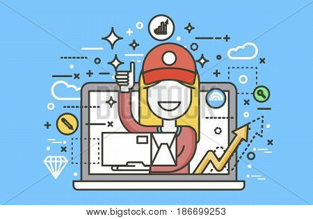 Stock vector illustration peddler parcels carrier woman packaging box in hand thumbs up design element for delivery service business, online order, booking management line art blue background icon