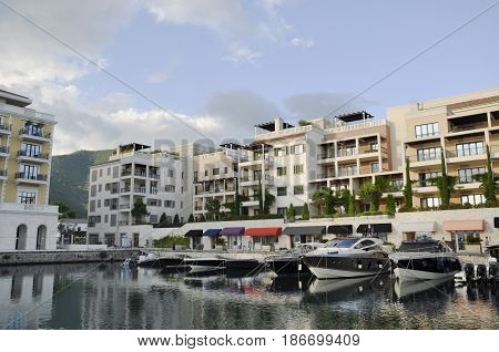 Montenegro, Porto Montenegro - JUN, 2, 2014: View on Porto Montenegro summer evening