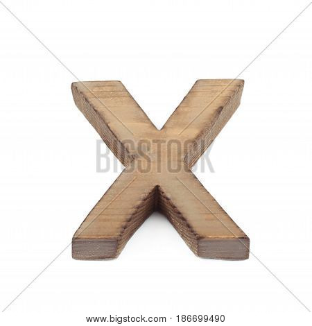 Single sawn wooden letter X symbol coated with paint isolated over the white background