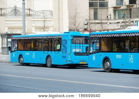 Moscow, Russia - May, 7, 2017: buses on a bus stop in the center of Moscow