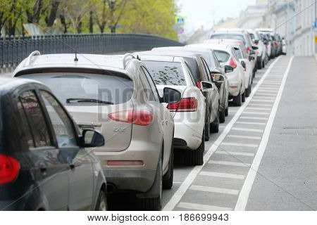 Moscow, Russia - May, 7, 2017: Cars on a parking Rozhdestvenskiy (Christmas) boulevard in Moscow