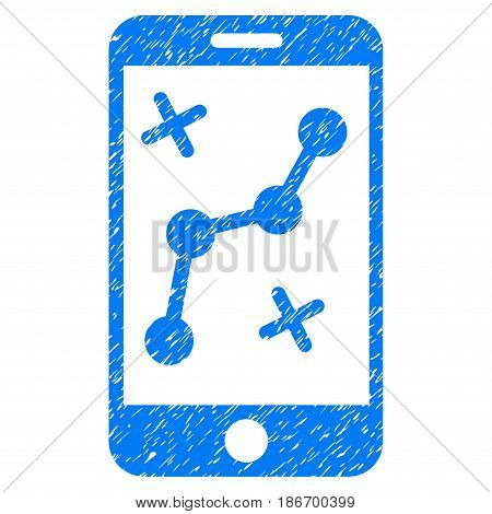 Grunge Mobile Route Map icon with grunge design and dust texture. Unclean vector blue pictogram for rubber seal stamp imitations and watermarks. Draft emblem symbol.