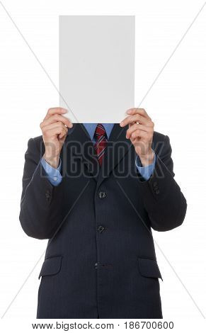 Holding blank paper paper sheet businessman face in front of blank card