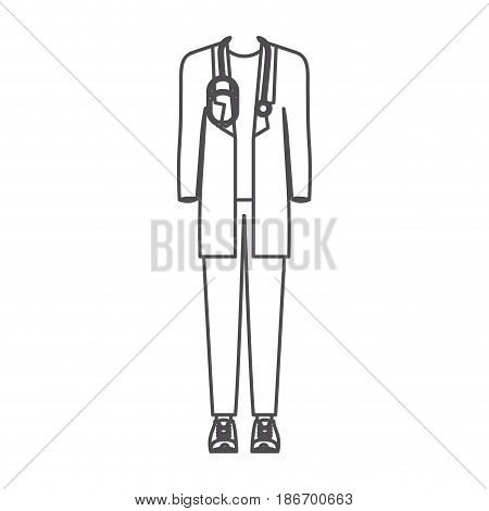 monochrome silhouette of male doctor clothing vector illustration