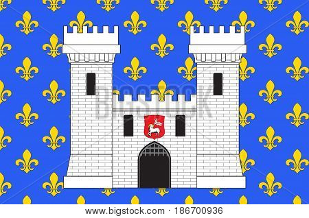 Flag of Carcassonne is a fortified French town in the Aude department of Region Occitanie France. Vector illustration