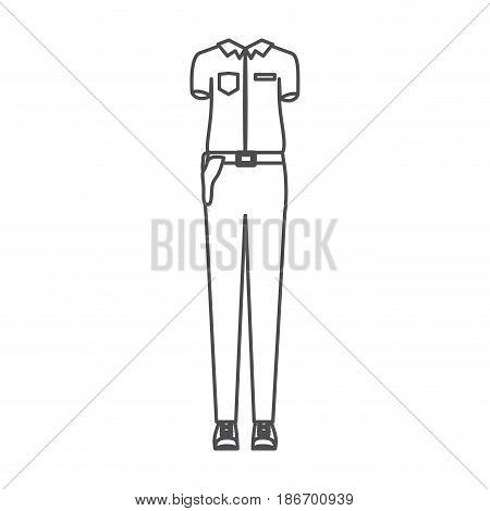 monochrome silhouette of uniform of policewoman vector illustration