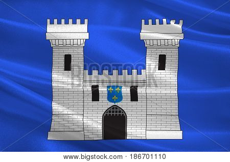 Flag of Carcassonne is a fortified French town in the Aude department of Region Occitanie France. 3d illustration