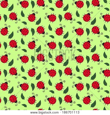 Seamless Background Of Painted Ladybirds And Leaves. Pattern