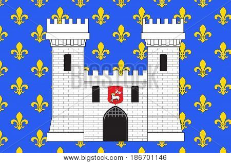 Flag of Carcassonne is a fortified French town in the Aude department of Region Occitanie France
