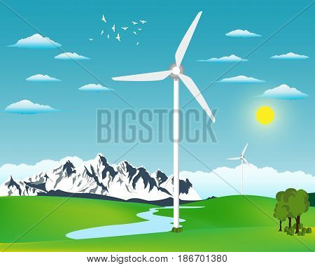 Wind power station vector. Green energy illustration