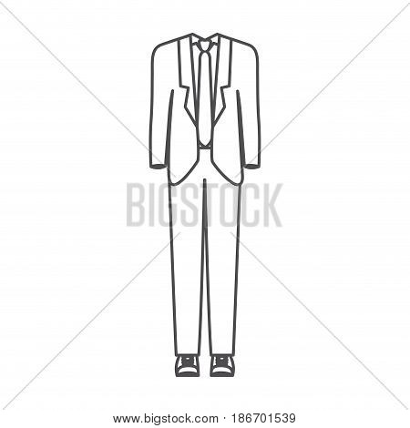 monochrome silhouette of male formal suit clothes vector illustration
