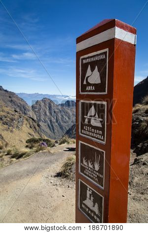 The landmark at Dead Women's Pass (Warmiwañusca) of the Ina Trail, Peru