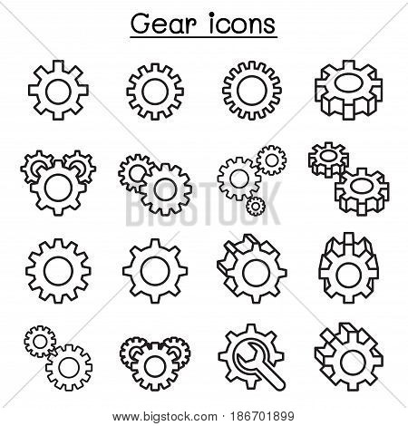 Gear & Repair icon set in thin line style