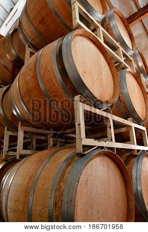 America; San Luis Obispo; USA - july 15 2016 : barrel in the cellar of the Claiborne and Churchill winery