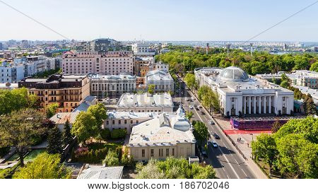 Above View Of Hrushevskoho Street In Kiev City