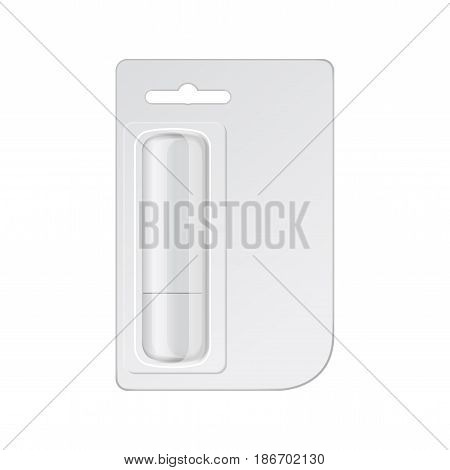 White hygienic lipstick on cardboard, vector mock up for your design